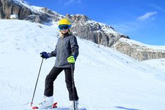 Young girl in ski resort Royalty Free Stock Photo