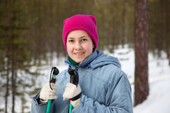 Young girl on ski trip Royalty Free Stock Images