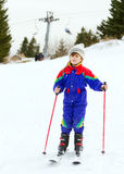 Young girl skiing. In ski resort Royalty Free Stock Photo