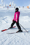 Young girl skiing Stock Images