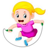 Young girl skipping. Illustration of Young girl skipping stock illustration