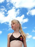 Young girl and sky Royalty Free Stock Images
