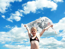 Young girl and sky Royalty Free Stock Photography
