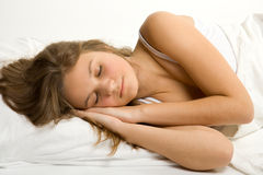 Young Girl Sleep In Bed Royalty Free Stock Photo