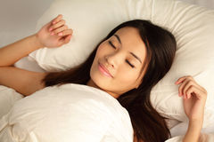 Young girl sleep peaceful  at night Royalty Free Stock Images