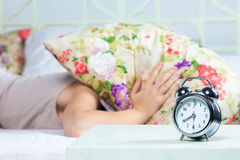 The young girl sleeping in bed Royalty Free Stock Photos