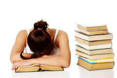 Young girl sleeping on the book. Stock Photography