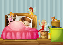 A young girl sleeping with fairies inside her room. Illustration of a young girl sleeping with fairies inside her room Royalty Free Stock Photography