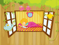 A young girl sleeping. Illustration of a young girl sleeping Stock Photo
