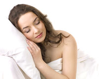Young girl sleeping on a pillow Stock Photos
