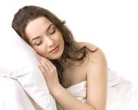 Young girl sleeping on a pillow Stock Photos