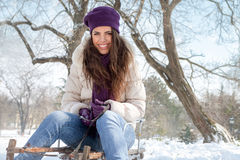 Young girl on sleigh. Young cheerful girl on sleigh on winter day Royalty Free Stock Photos