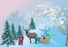 Young girl in sleigh and gnom. Illustration with young girl in sleigh and gnom Royalty Free Stock Photo