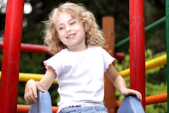 Young girl  slide Stock Photo