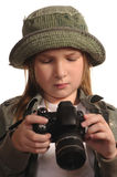 Young girl with SLR-like digital camera. Young girl holding SLR-like digital camera Stock Images