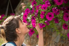 Young girl smelling a flower in the mountains of Andorra. royalty free stock photos