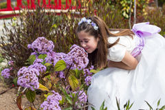 Free Young Girl Smelling Flowers Stock Photo - 40350470