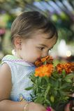 Young girl smelling marigold flowers in plant nursery close up Stock Image
