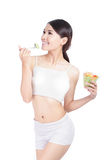 Young Girl Smile eating salad Royalty Free Stock Photography