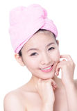 Young Girl Smile Face Skincare after bath spa Stock Photos