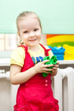 Young girl with smile on face in sundress stock photos