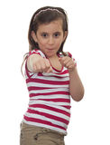 Young girl smiling in a boxing position Royalty Free Stock Photography
