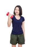 Young girl smiling between exercising over white Royalty Free Stock Images