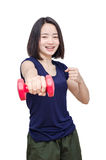 Young girl smiling between exercising over white Royalty Free Stock Image