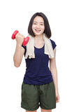 Young girl smiling between exercising over white Royalty Free Stock Photo