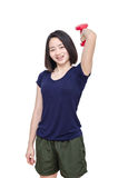 Young girl smiling between exercising over white Royalty Free Stock Photos