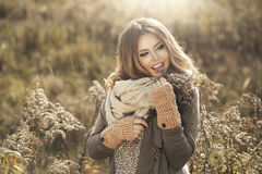 Young girl smiling in scenery Stock Images
