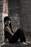 Young girl smoking Royalty Free Stock Photography