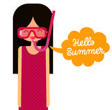 Young girl with snorkel mask says hello summer Stock Photo