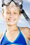 A young girl in snorkeling gear Royalty Free Stock Image