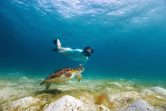 Young girl snorkeling with sea turtle Stock Photos