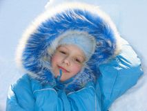 Young girl on snow Stock Photography