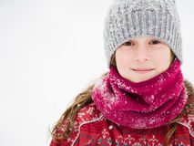 Young girl in the snow royalty free stock photography