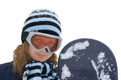 Young girl with snowboard. Stock Photos
