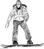 Young girl on a snowboard Royalty Free Stock Images