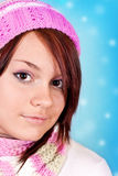 Young girl and snowflakes Stock Images
