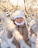 Young girl in a snowy forest Royalty Free Stock Photo