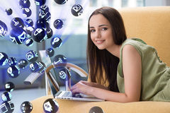 The young girl in social networks concept Stock Photos