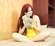 Young girl  with soft toy Royalty Free Stock Photo