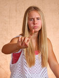 Young Girl With Sore Finger Stock Photography