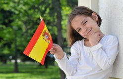 Young Girl With Spanish Flag Stock Photo