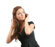 Young girl speak by mobile. Stock Photo