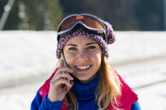 Young Girl Speak Smart Phone Tourist Snowboard Ski Resort Snow Winter Mountain Smiling Woman Holiday Royalty Free Stock Photos