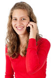 Young girl speaking on cellphone Stock Images