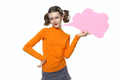 Young Girl speaking, Holding bubbles chat Royalty Free Stock Photos