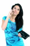 Young girl. The young girl speaks by phone royalty free stock photos